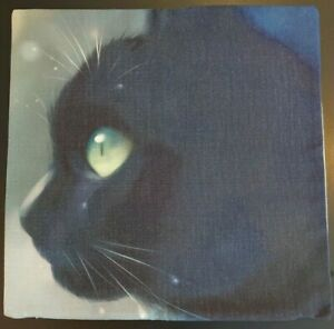 """Black Cat with Green Eyes Cushion Cover 17""""x17"""" (44 x 44cms) Zipped"""