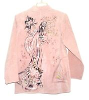 Look East Pale Pink Suede with Painted Geisha on Back Womens Jacket Size S NWT