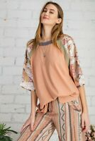 Easel Coral Mixed Print Cotton Slub Knit Short Sleeve Top Sz Small Medium Large