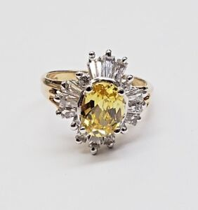 10k Gold & Round Full Cut Yellow w/ Diamonds Ring Size 8 New  5.1g