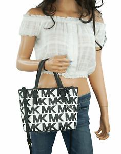 MICHAEL KORS JET SET TRAVEL XS CARRYALL TOTE SHOULDER BAG MK WHITE BLACK