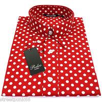 Relco Mens Red & White Polka Dot Long Sleeved Shirt Mod Skin Retro Indie 60s