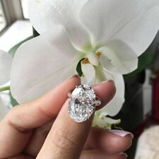 14K White Gold Oval Cut Diamond Certified 2.70Ct Engagement & Wedding Ring