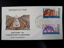 TCHAD  AERIEN 90/91  PREMIER JOUR   FDC   JEUX OLYMPIQUES ,LUTTE   45+75F   1971