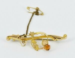 9ct Gold Bar Brooch Featuring Scottish Thistle & A Faceted Citrine 2.4g
