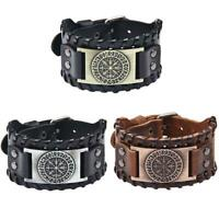Vintage Wristbands Compass Wide Leather Bangle Nordic Men Bracelet Jewelry S1