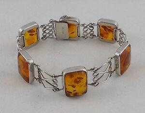 Fischland Bernstein 19cm Armband Bracelet 835 Silber Bernsteinarmband Nr.103