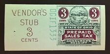 Ohio State Revenue, 3 Cents Sales Tax Entire, Columbian Bank Note Co. #DGIF-1333