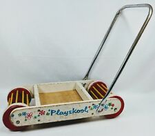 Vintage Playskool Childrens Kids Pull Toy Wood Wagon Wooden