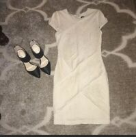 Torn by Ronny Kobo off white bodycon style dress