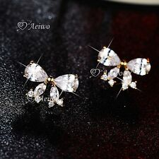 18K GOLD GF 925 SILVER CLEAR CRYSTAL BUTTERFLY BOW STUD EARRINGS CUTE SMALL