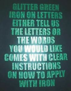 One Inch Green Glitter Iron On Characters - Letters or Numbers Vinyl Printing