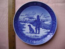 1977 Royal Copenhagen Christmas Plate - Immervad Bridge- Hunter with his Dog.