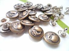 25pcs Button Metal Skull Head NO-SEW Tack Antiqued Brass Tone 10mm For Jean Hat