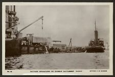 Salvage Operations on German Battleship SMS Baden in Scapa Flow - RP Postcard