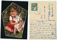 02078 - Mädchen mit Ziege - Hochzeitseinladung - AK, gelaufen 10.11.1967