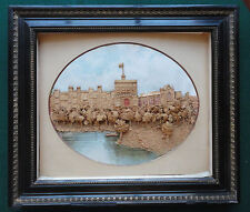Fine Antique Victorian Cork Picture of Windsor Castle from the River Thames 1895