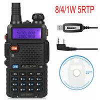 DE BaoFeng UV-5RTP + Cable Tri-Power 1/4/8W Emisora Transceptor Dual Band Radio