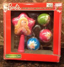 "BARBIE ""A PERFECT CHRISTMAS"" 4 PIECE ORNAMENT SET"