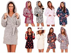 Womens Short Hooded Dressing Gown Bath Robe Housecoat + Belt Ladies Size