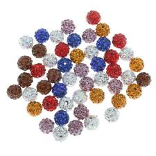50 MIX SHAMBALLA STYLE BEADS PAVED DISCO RHINESTONE POLYMER CLAY ROUND 10MM