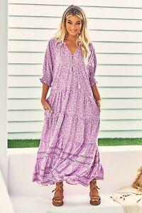 JAASE WOMEN'S RAINE MAXI DRESS LILAC SKIES FLORAL PRINT PRETTY PINK PURPLES