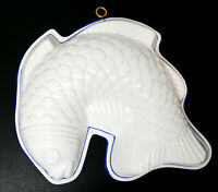 Beautiful White Blue Porcelain Ceramic Fish  Mold Wall Hanging Knobler Japan