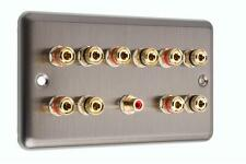 5.1 Speaker  AV Audio Wall Face Plate - Stainless Steel - NO SOLDERING REQUIRED