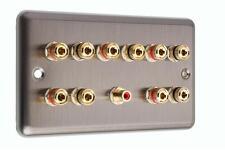 5.1 Speaker  AV Audio Wall Face Plate - Stainless Steel - NO SOLDERING REQUIRED