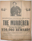 John Wilkes Booth Wanted Poster, Civil War, Abraham Lincoln Assassination