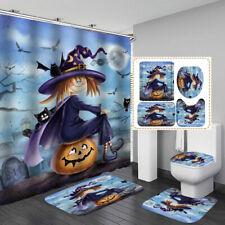 Cartoon Halloween Shower Curtain Door Bath Mat Toilet Cover Rugs Bathroom Decor