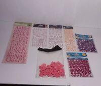 Scrapbook Craft Letter Embellishments Pink Purple Orange 7 Packs Unused
