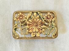 Belle Broche Métal Doré Période Art Nouveau Bijoux Ancien Collection Fleurs TBE