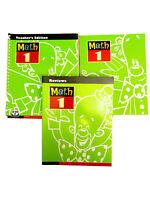 Lot of 3 BJU MATH 1 Books~3rd Edition~TEACHER'S/REVIEWS/TEXTBOOK~Homeschool~New