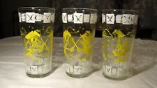 Lot 3 Hazel Atlas Vintage Jelly Jar Glass Tumblers Pirates Fighting Swords, Ship