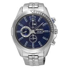 SEIKO Men SSC381 Solasr Recraft Chronograph Blue Ion-Plated Retail $375