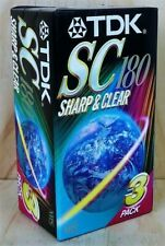 """""""TDK SC 180 Sharp & Clear 3 Pack VHS Blank Video Casette Tapes"""" Sealed Never Use"""
