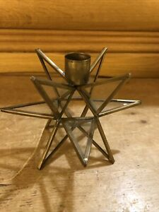 Vintage Brass & Glass Star Candle holder Stick