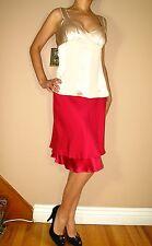 Les Copains Fuchsia Bright Pink Stretch Silk Flounce Hem Skirt IT 42 US 8