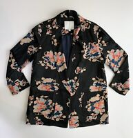 Anthropologie Ett Twa Oversized Floral Satin Tavie Blazer Open Jacket Small S
