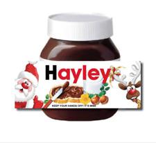 CHRISTMAS Personalised Chocolate fits nut Spread Jar LABEL Sticker XMAS