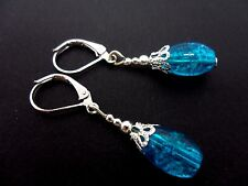 A PAIR OF PRETTY BLUE OVAL CRACKLE GLASS BEAD LEVERBACK HOOK  EARRINGS. NEW.