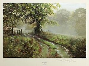 """DAVID DIPNALL """"Puddles"""" country lane raining LE SIGNED! SIZE:44cm x 50cm NEW"""