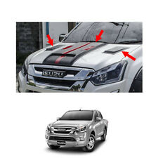 Bonnet Hood Scoop Cover Matte Black Red Trim 3 Pc For Isuzu D-max Holden 16 - 17