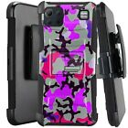 Holster Case For LG K92 5G (2020) Kickstand Phone Cover - PURPLE STYLISH CAMO