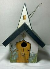 Hand Made Wood Church Bird House With Steeple And Dove Hand Painted