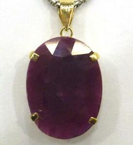 BESTJEWELLERY 10KT SOLID YELLOW GOLD NATURAL OVAL 11CT RUBY PENDANT P822