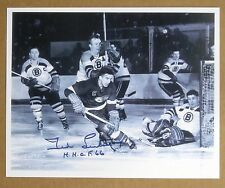Detroit Red Wings Great - Ted Lindsay Signed B&W Action Photo