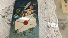 Antique Enbossed New Year Post Card glitter boy 4 leaf clover no stamp Germany