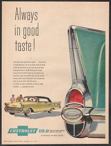 1957 Canadian Chevrolet print ad yellow Bel Air Convertible